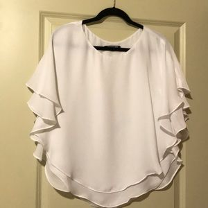 Gianni Bini White Ruffle Blouse